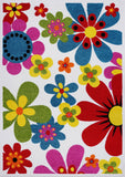 Multicolor Flowers Pattern Area Rug