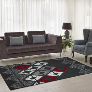 Flash Gray Geometric Area Rug -