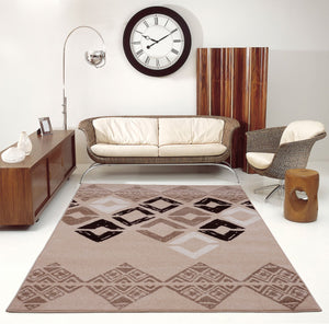 Flash Caramel Beige Geometric Area Rug -
