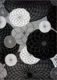 Gloria Circles Black Grey Geometric Area Rug -