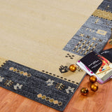 Guinea Grey Cream Border Design Area Rug -