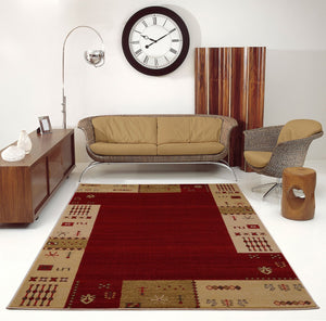 Guinea Cherry Red Border Design Area Rug -
