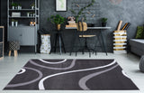 Turkish Dark Gray Contemporary Spirals Area Rug