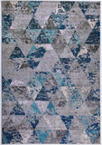 Kensington Teal Cream Grey Abstract Triangles Area Rug -