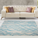Shaggy Moroccan Ivory Turquoise Area Rug -