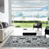 Oakville Cream Black Oriental Area Rug -