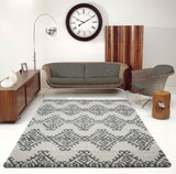 Oriental Motif Ivory Gray Shaggy Area Rug -