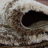Patch Beige Micro Fiber Shaggy Area Rug -