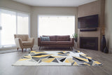 Cream Yellow Multi Triangles Area Rug -