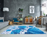 White Blue Modern Area Rug