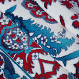 White Red Blue Floral Area Rug