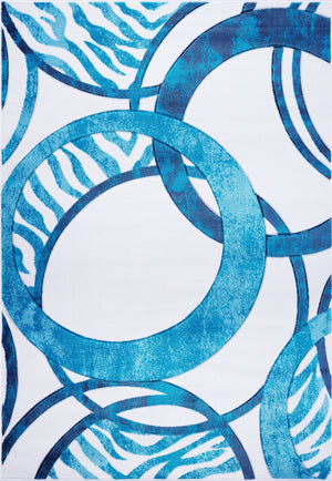 Blue Abstract Arae Rug