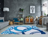 White Blue Contemporary Area Rug