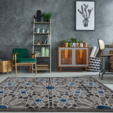 City Square Grey Blue Area Rug -