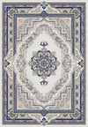 Traditional Blue and Grey Flat Pile Area Rug