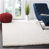 Cream Solid Shaggy Area Rug