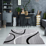 Turkish Light Gray Contemporary Spirals Area Rug