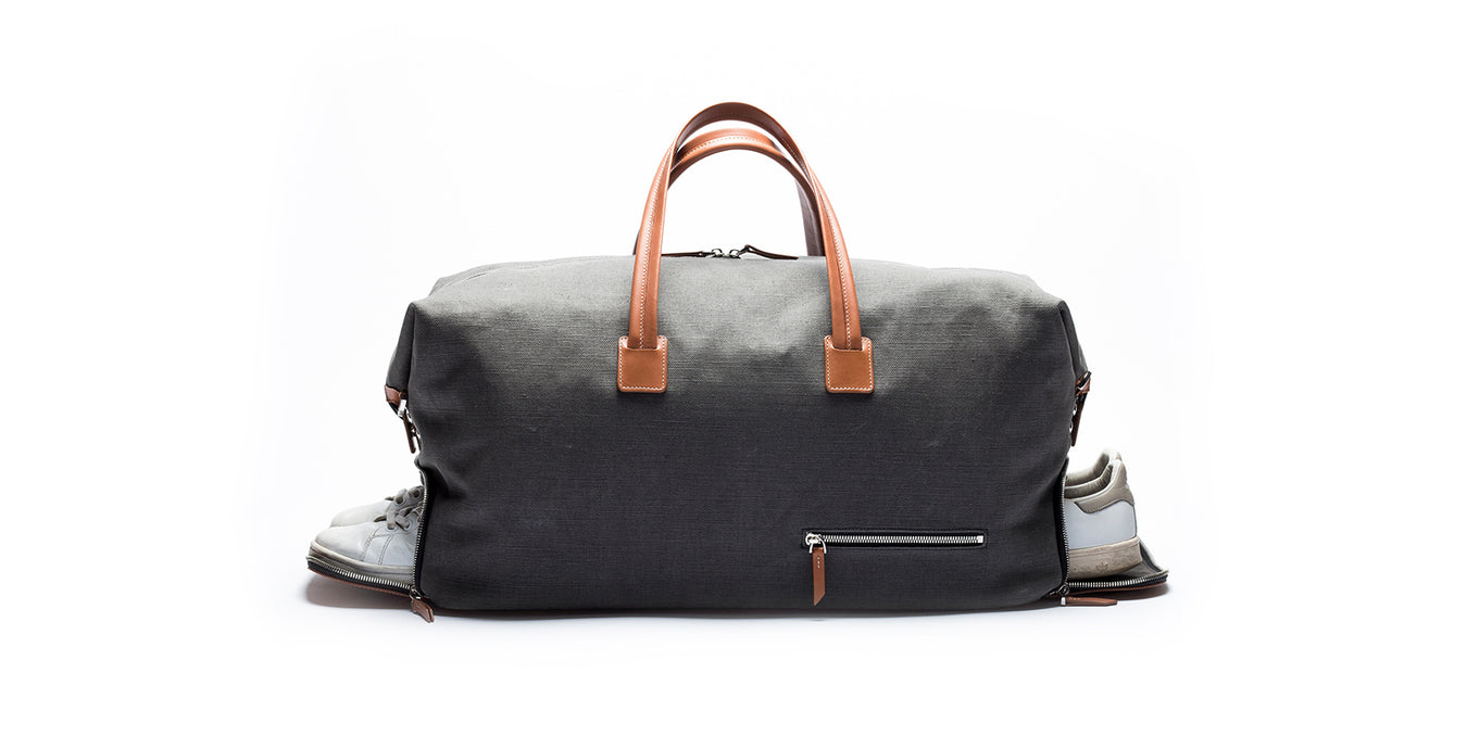 lundi cotton and leather travel bag