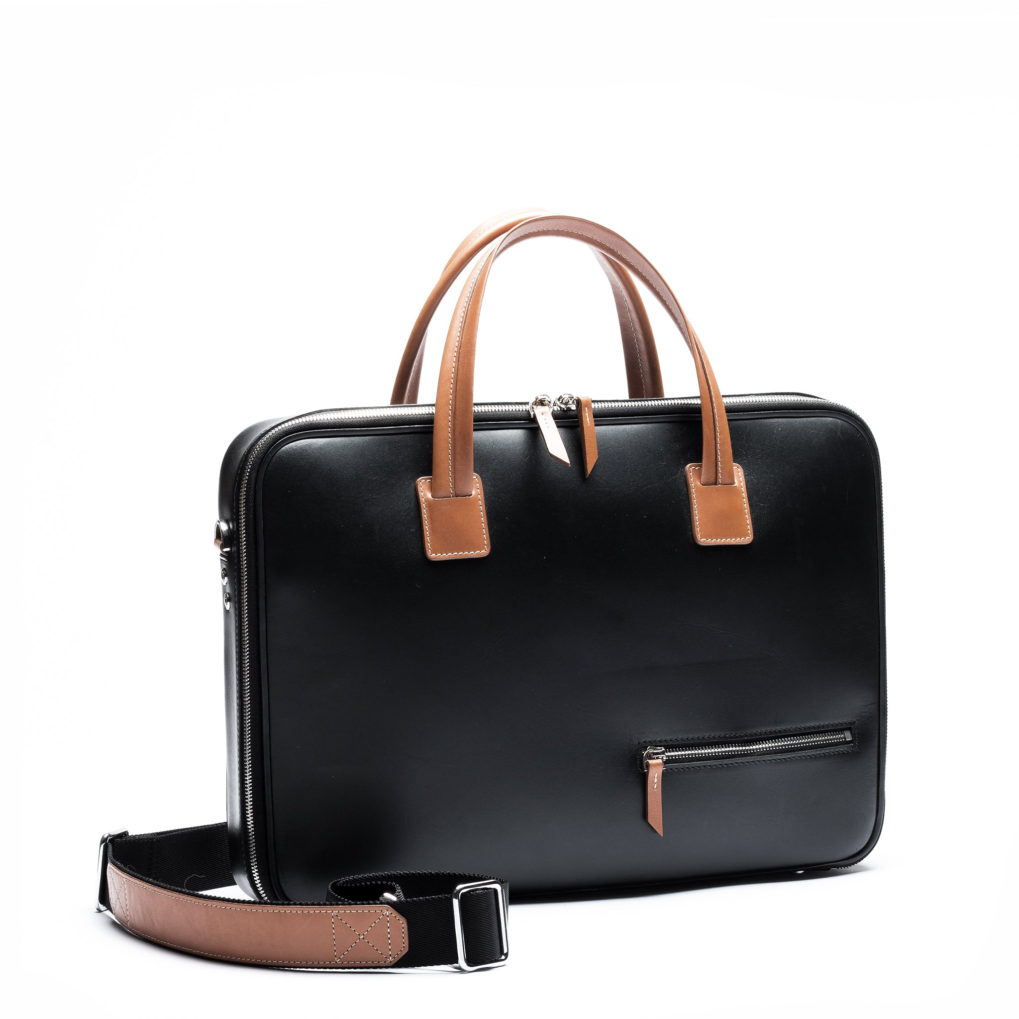 lundi Leather Briefcase | ALESSANDRO Black & Cognac