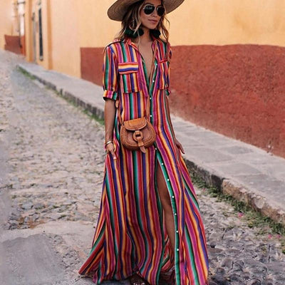 Vintage Striped Maxi Dress-MangoMac