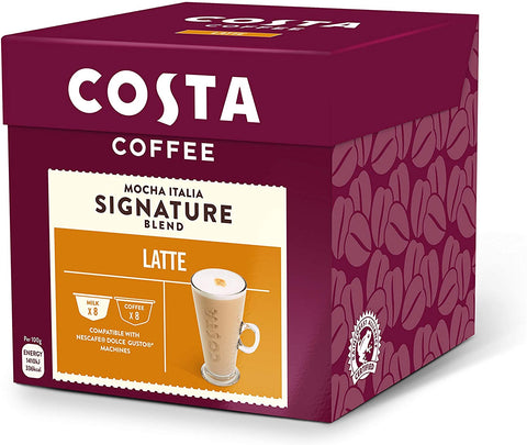 Costa NESCAFE ® Dolce Gusto ® Compatible Latte Coffee Pods, Mild & Milky Coffee, 16 Pods
