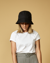 Load image into Gallery viewer, Prada bucket hat, unbranded hat, white bucket hat, trending sun hat, white cotton, retro, 90s, BLACK, RETRO,