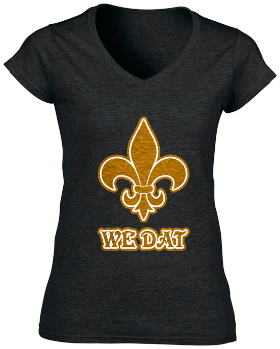 Women's New Orleans Saints V-Neck WE DAT T-Shirt - Urban Girl Fund