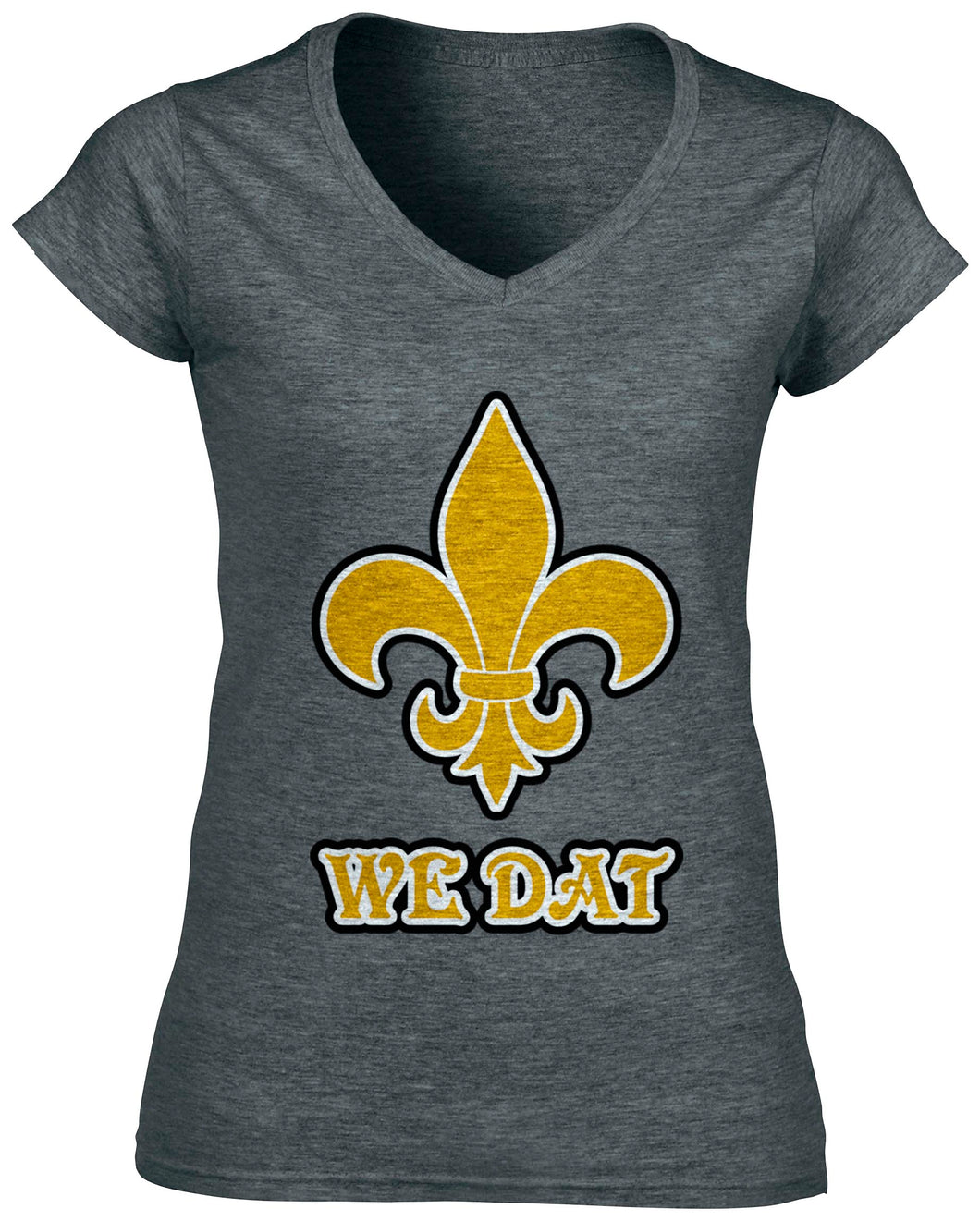 Women's New Orleans Saints Heather Grey V-Neck WE DAT T-Shirt - Urban Girl Fund