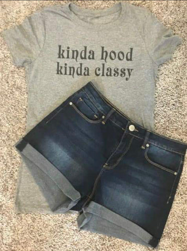 Women's Scoop Neck Heather Gray Kinda Hood, Kinda Classy T-Shirt - Urban Girl Fund