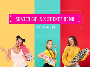 Get cool sticker bomb for your skateboard, table, laptop, ipad or any boring space.