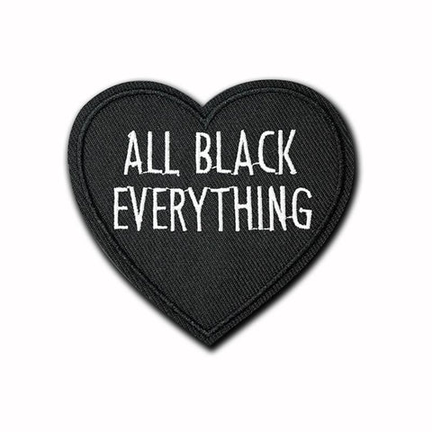 All Black Everything Heart Patch - Expressionco