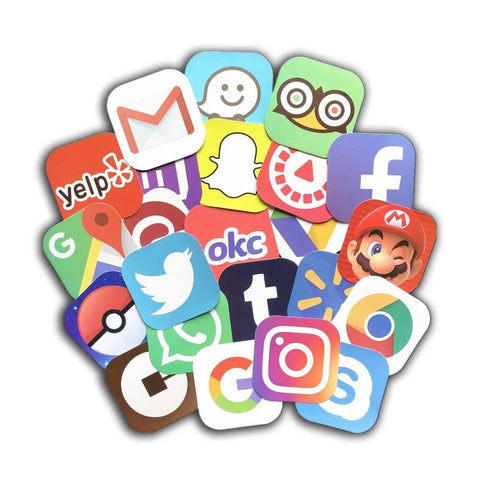 App Logo sticker pack, phone apps sticker bomb, instagram uber twitter facebook logos, laptop phone mac air decals, vinyl wall decals - Expressionco