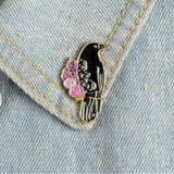 Raven Crow Floral Pin - Expressionco