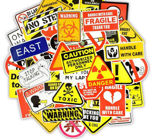 Warning Sign Sticker Bomb - Expressionco