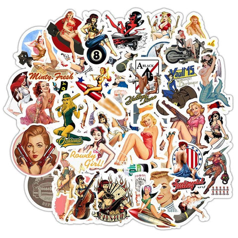 Pinup Bomber Girls Sticker Bomb - Expressionco