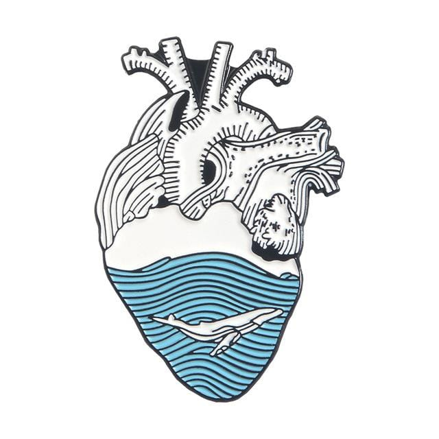 Whale Anatomical Heart Pin