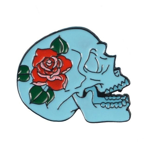 Skull Red Rose Pin - Expressionco