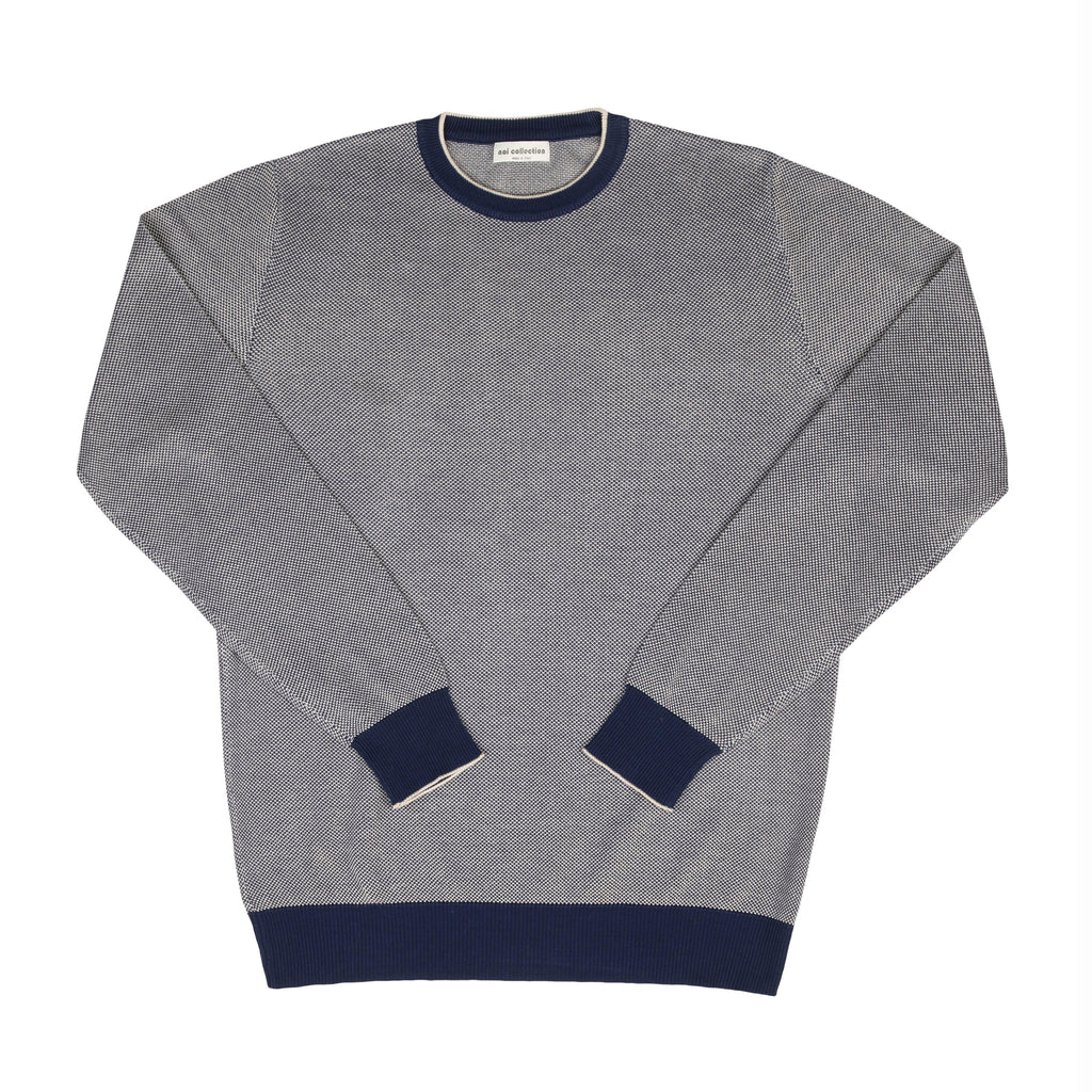 Crew Neck Sweater In Navy Blue - Noi Collection London