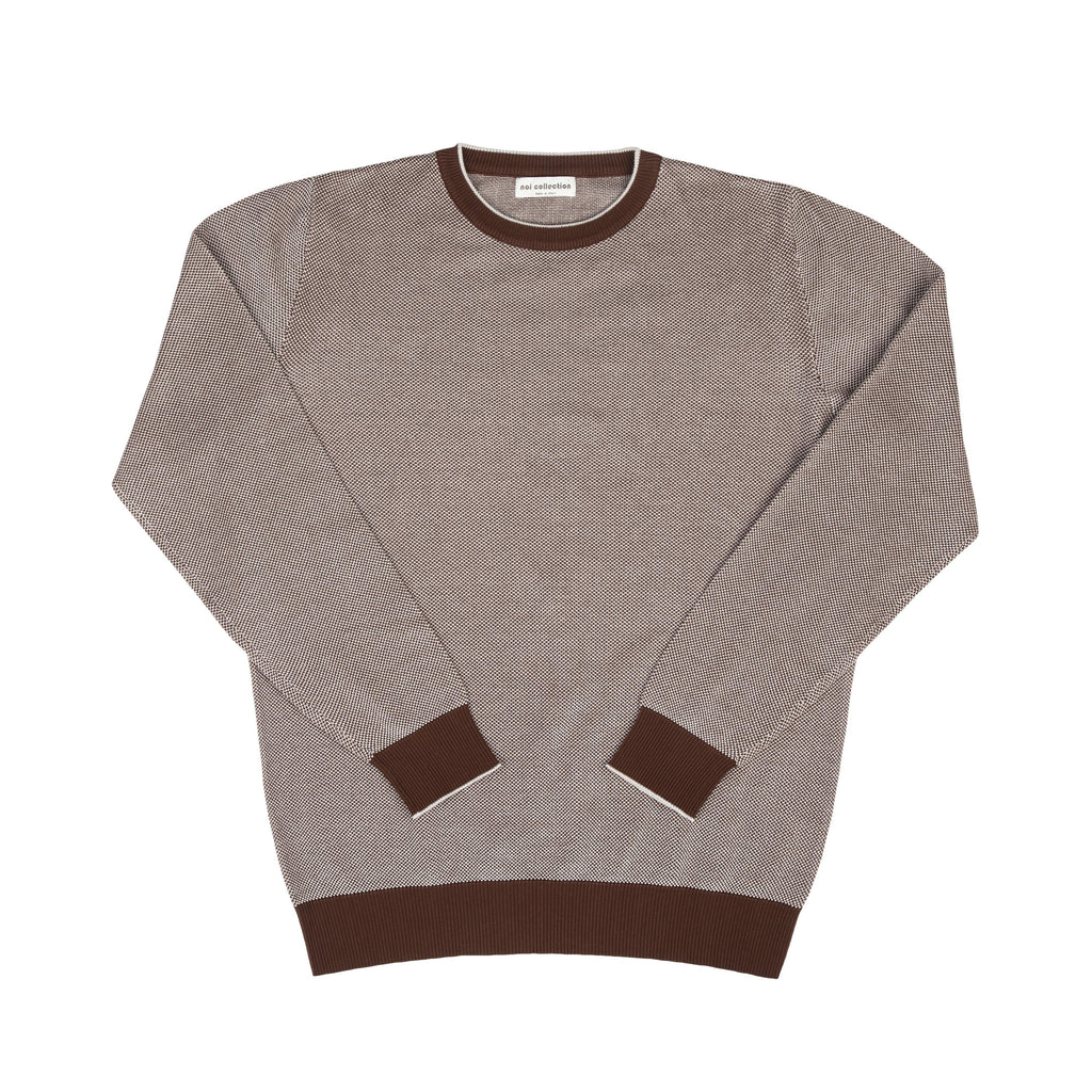 Crew Neck Sweater In Brown - Noi Collection London