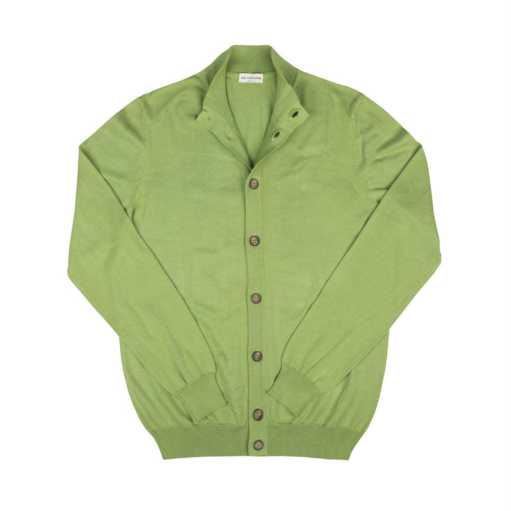 Cotton Cardigan In Pea Green