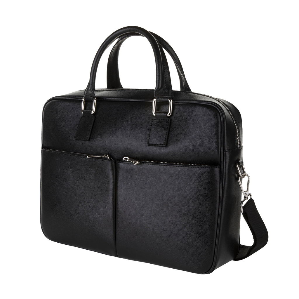Saffiano Leather Briefcase In Black - Noi Collection London