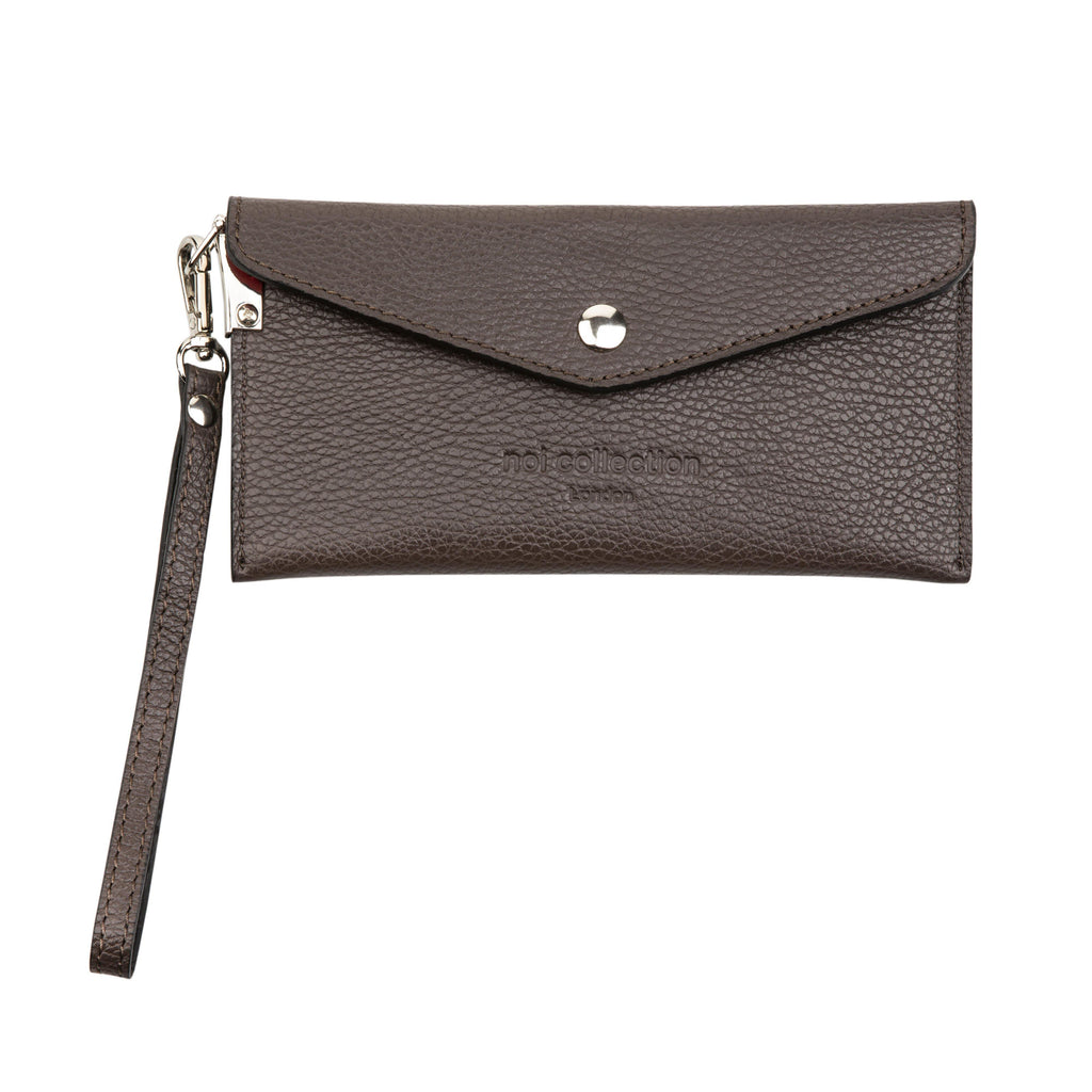 Pebble Grain Leather Unisex Purse In Chocolate Brown