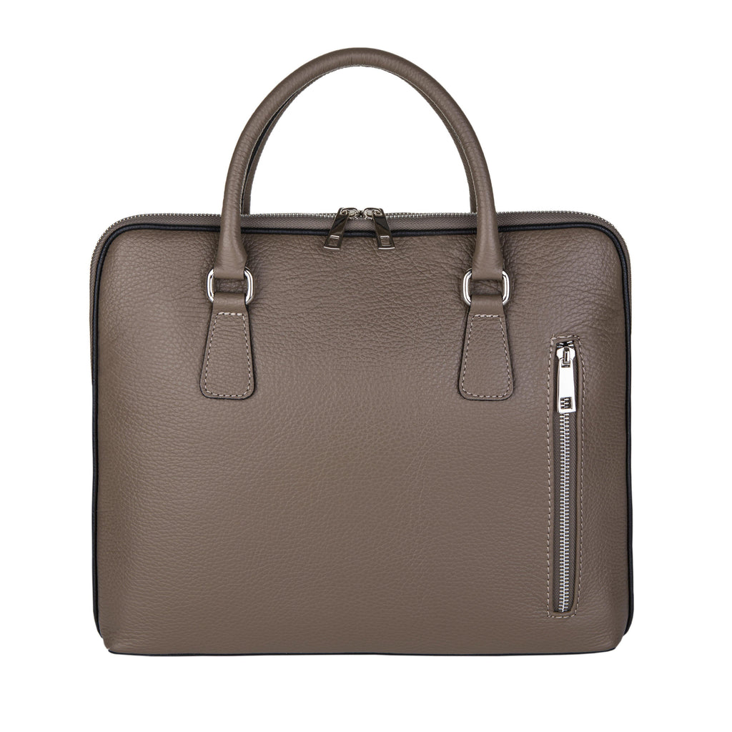 Pebble Grain Laptop Bag In Taupe - Noi Collection London