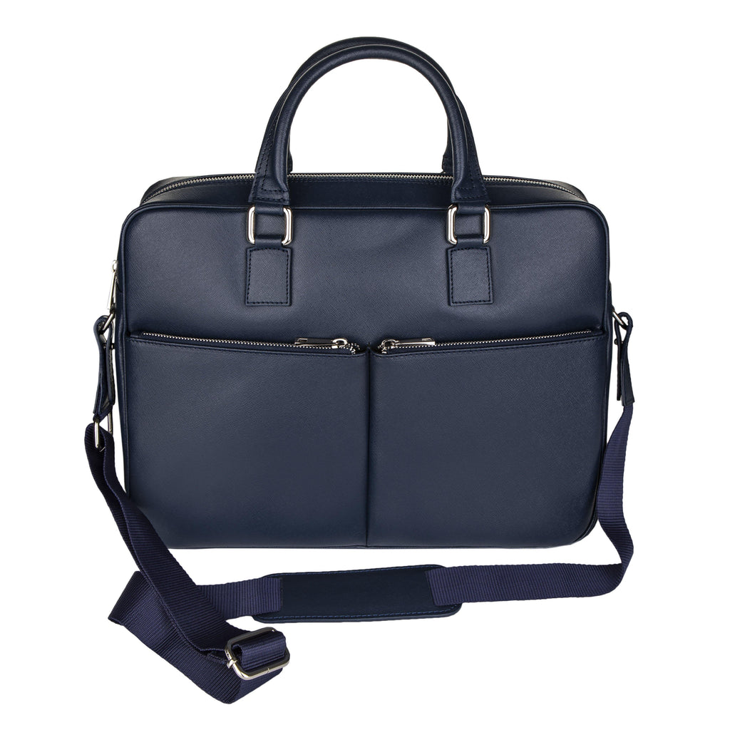 Saffiano Leather Brifecase In Navy Blue