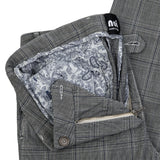 Brushed Cotton Chino Slim Fit Navy Blue Check Trousers. - Noi Collection London