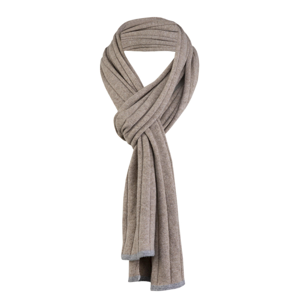 Cashmere And Wool Unisex Ribbed Scarf In Beige - Noi Collection London