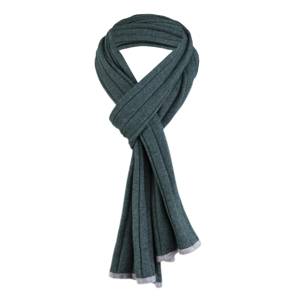 Cashmere And Wool Unisex Ribbed Scarf In Mint Green - Noi Collection London