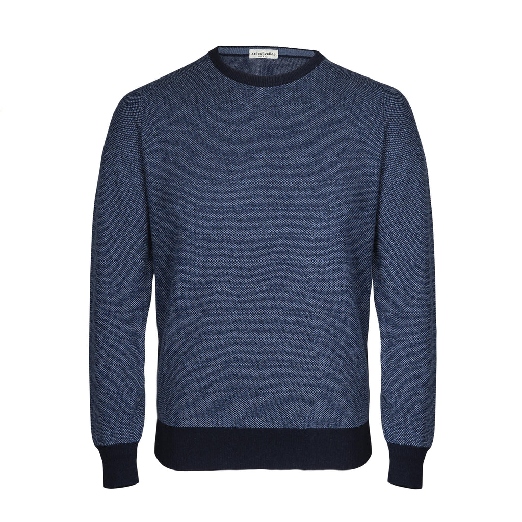 Crew Neck Sweater In Mixed Wool/Cashmere In Indigo/Navy.