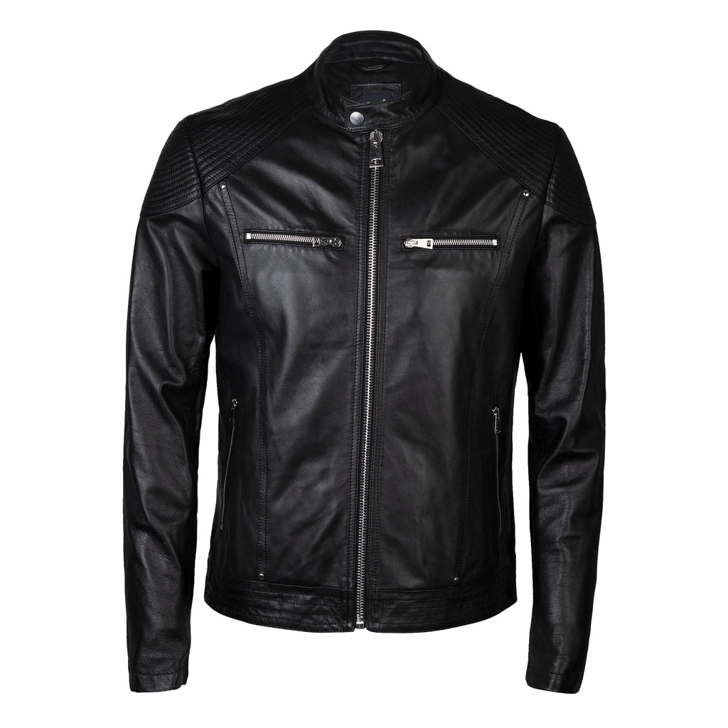 Nappa Leather Classic Biker Jacket In Jet Black - Noi Collection London