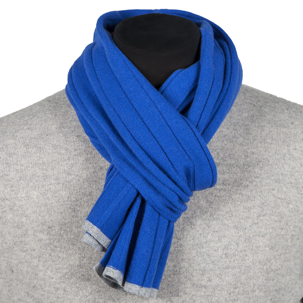 Cashmere And Wool Unisex Ribbed Scarf In Sapphire Blue